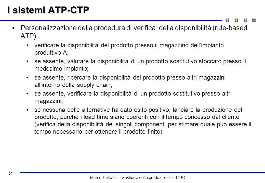 34 Marco Bettucci – Gestione della produzione II - LIUC I sistemi ATP-CTP Personalizzazione della procedura di verifica della disponibilità (rule-base