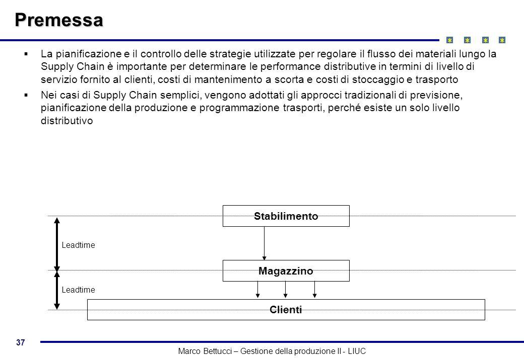 37 Marco Bettucci – Gestione della produzione II - LIUC Premessa La pianificazione e il controllo delle strategie utilizzate per regolare il flusso de