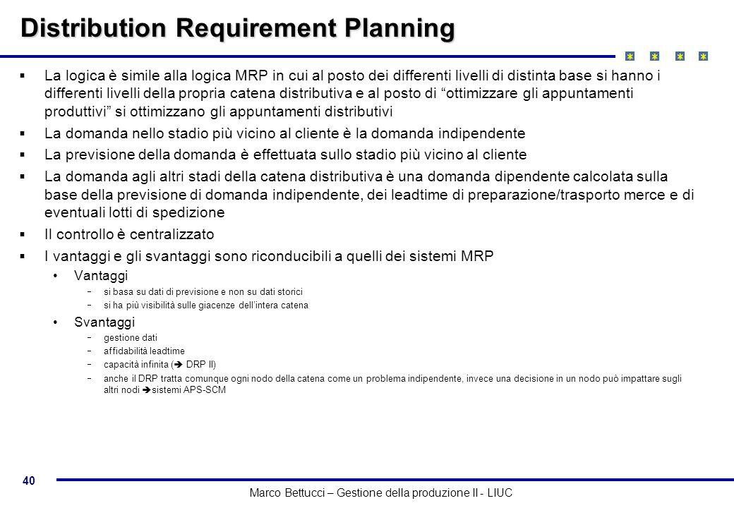 40 Marco Bettucci – Gestione della produzione II - LIUC Distribution Requirement Planning La logica è simile alla logica MRP in cui al posto dei diffe