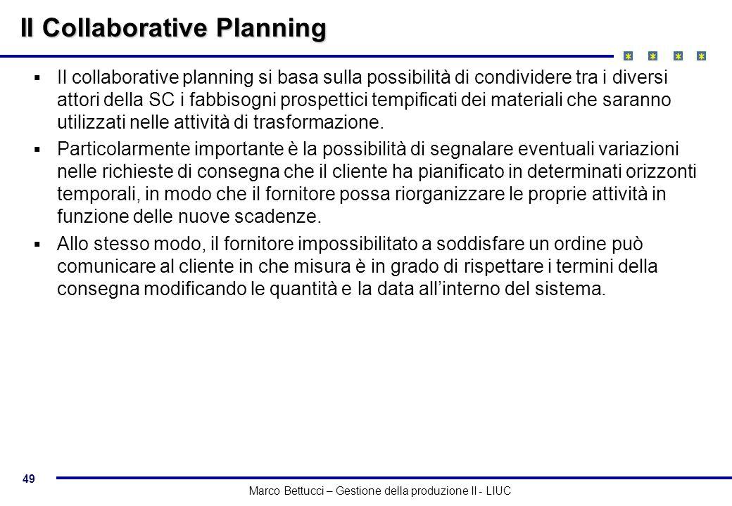 49 Marco Bettucci – Gestione della produzione II - LIUC Il Collaborative Planning Il collaborative planning si basa sulla possibilità di condividere t