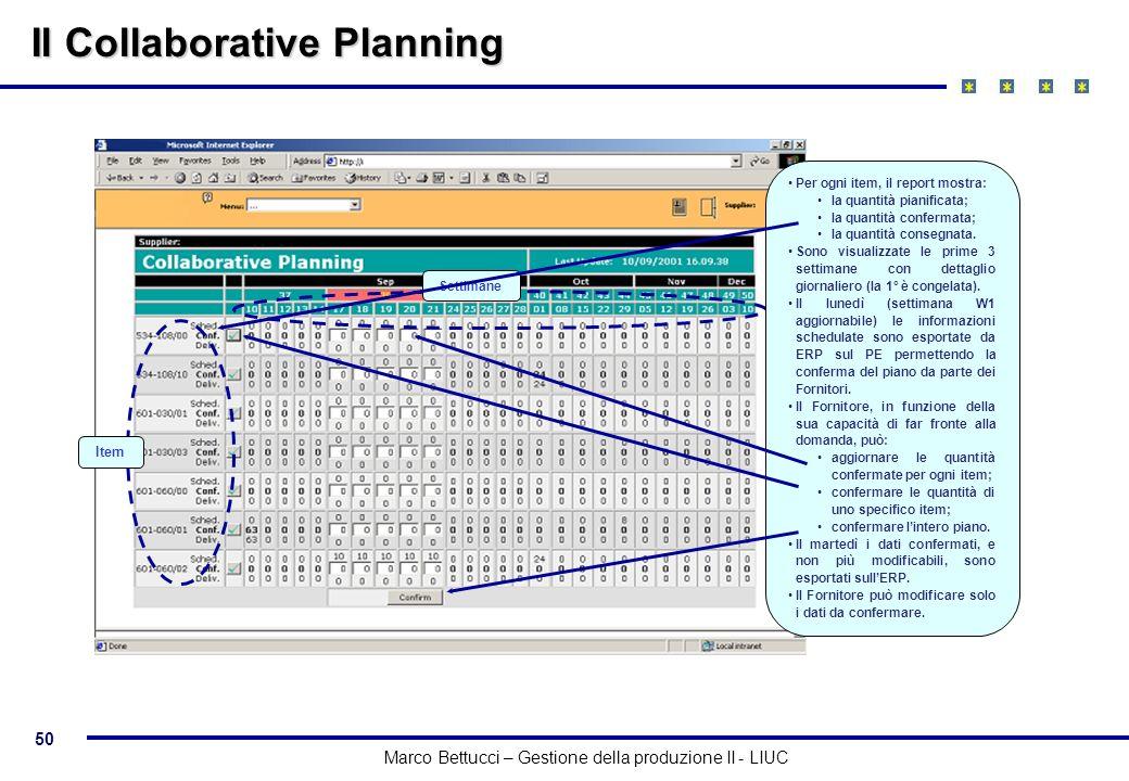 50 Marco Bettucci – Gestione della produzione II - LIUC Il Collaborative Planning Item Settimane Per ogni item, il report mostra: la quantità pianific