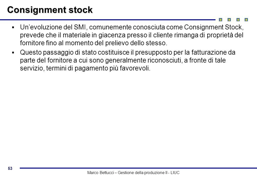 53 Marco Bettucci – Gestione della produzione II - LIUC Consignment stock Unevoluzione del SMI, comunemente conosciuta come Consignment Stock, prevede
