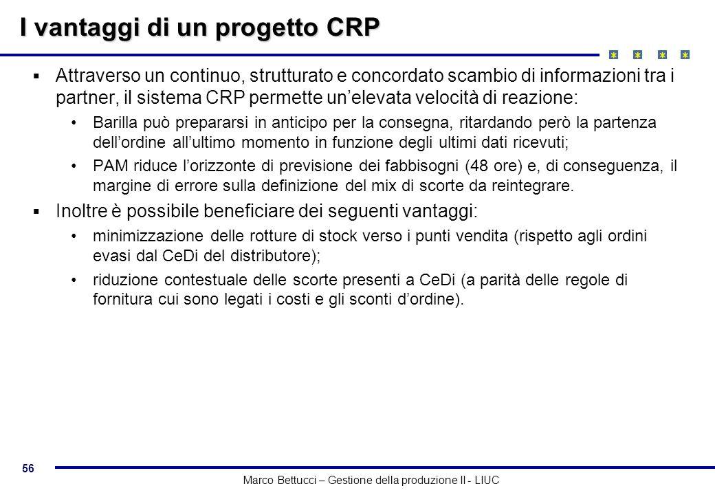 56 Marco Bettucci – Gestione della produzione II - LIUC I vantaggi di un progetto CRP Attraverso un continuo, strutturato e concordato scambio di info