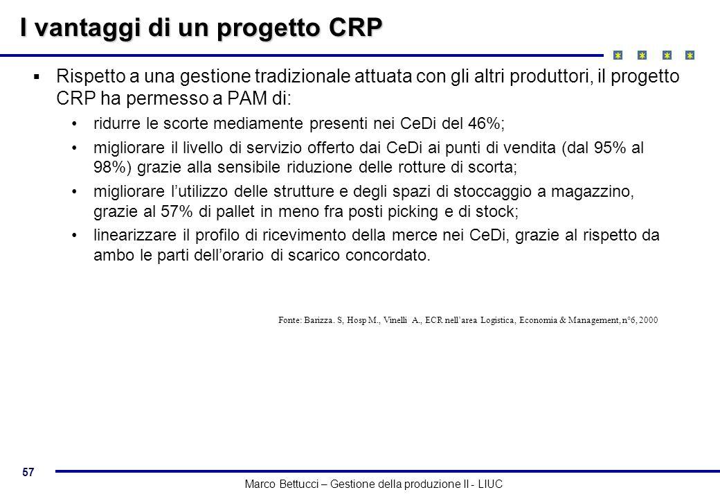 57 Marco Bettucci – Gestione della produzione II - LIUC I vantaggi di un progetto CRP Rispetto a una gestione tradizionale attuata con gli altri produ