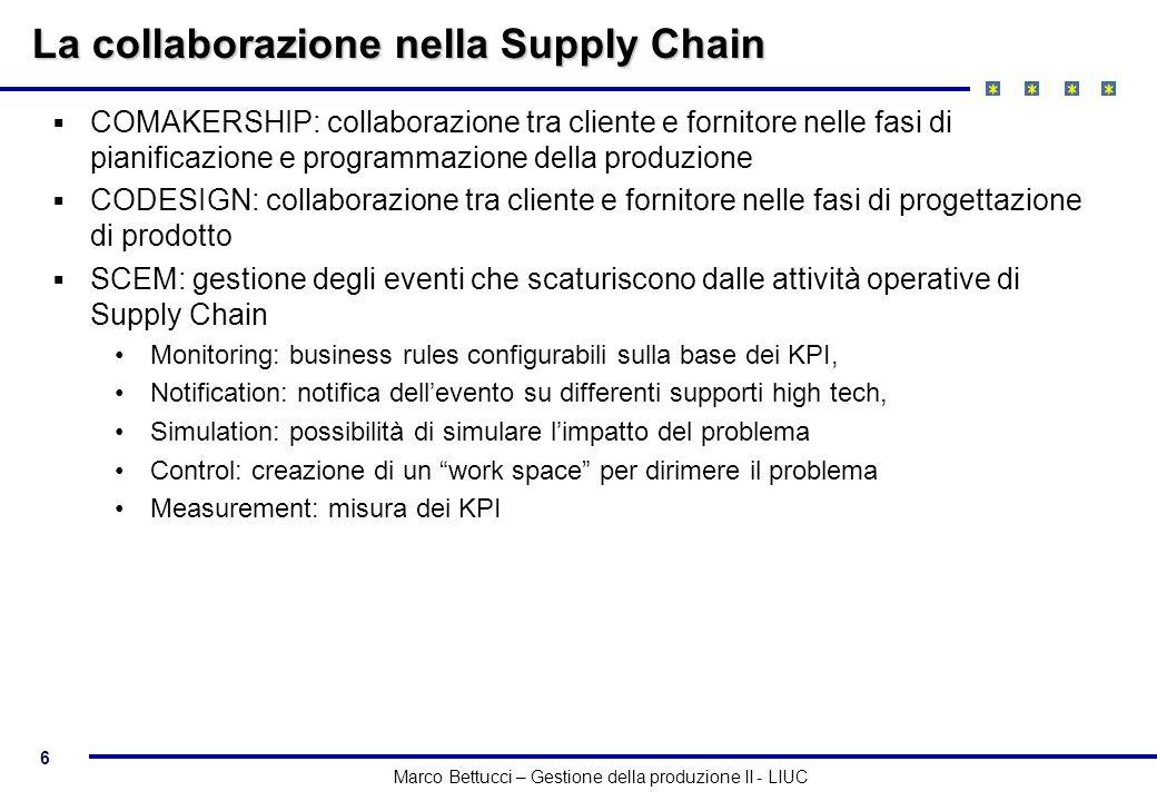 6 Marco Bettucci – Gestione della produzione II - LIUC La collaborazione nella Supply Chain COMAKERSHIP: collaborazione tra cliente e fornitore nelle