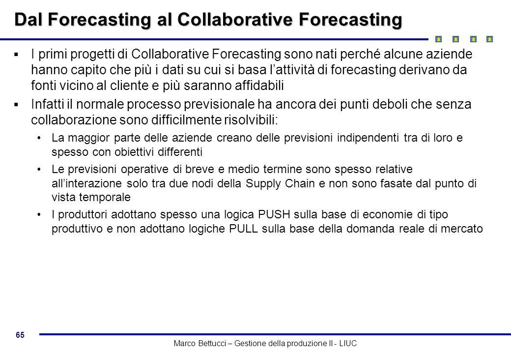 65 Marco Bettucci – Gestione della produzione II - LIUC Dal Forecasting al Collaborative Forecasting I primi progetti di Collaborative Forecasting son