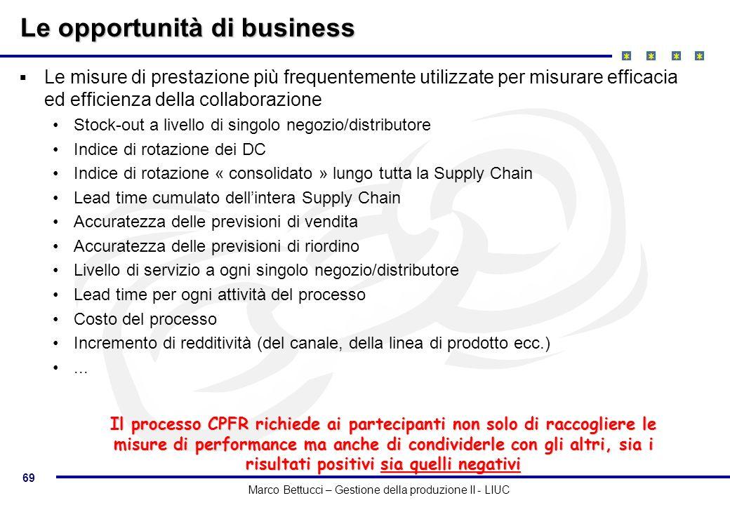 69 Marco Bettucci – Gestione della produzione II - LIUC Le opportunità di business Le misure di prestazione più frequentemente utilizzate per misurare