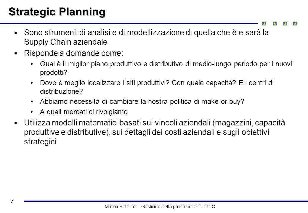 7 Marco Bettucci – Gestione della produzione II - LIUC Strategic Planning Sono strumenti di analisi e di modellizzazione di quella che è e sarà la Sup