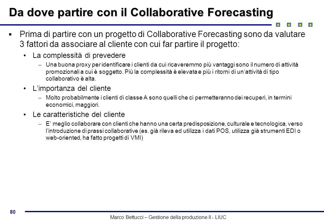80 Marco Bettucci – Gestione della produzione II - LIUC Da dove partire con il Collaborative Forecasting Prima di partire con un progetto di Collabora