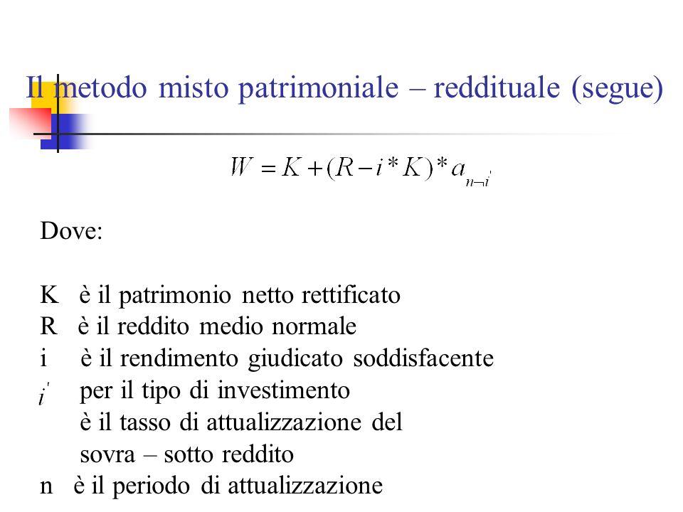 Il metodo misto patrimoniale – reddituale (segue) Dove: K è il patrimonio netto rettificato R è il reddito medio normale i è il rendimento giudicato s
