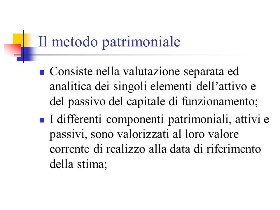Il metodo patrimoniale (segue) Il valore dellazienda (W) = patrimonio netto contabile rettificato in aumento o in diminuzione in funzione delle differenze riscontrabili tra i valori correnti degli elementi dellattivo e del passivo ed i corrispondenti valori contabili (K)