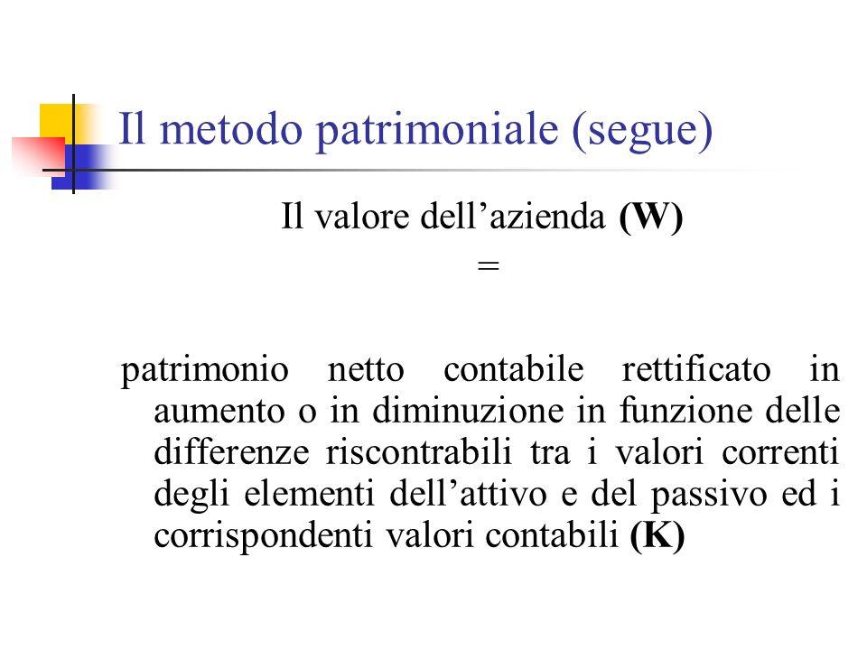 Il metodo patrimoniale (segue) Il valore dellazienda (W) = patrimonio netto contabile rettificato in aumento o in diminuzione in funzione delle differ