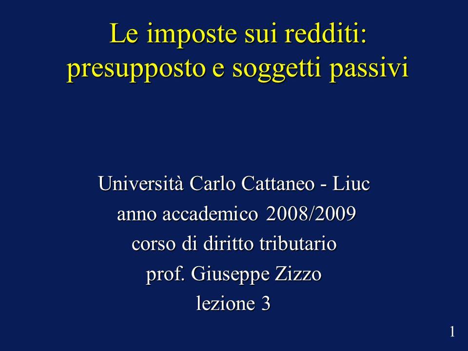 Le imposte sui redditi: presupposto e soggetti passivi Università Carlo Cattaneo - Liuc anno accademico 2008/2009 anno accademico 2008/2009 corso di diritto tributario prof.