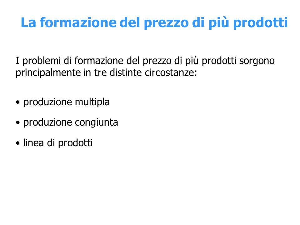 Produzione multipla Nel caso di produzione multipla il prezzo di un prodotto non può essere fissato se non si tiene conto della situazione di mercato e dei costi degli altri prodotti.
