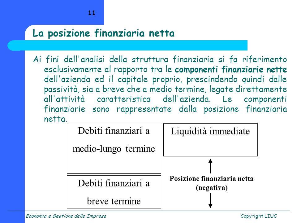 Economia e Gestione delle ImpreseCopyright LIUC 11 Ai fini dell'analisi della struttura finanziaria si fa riferimento esclusivamente al rapporto tra l