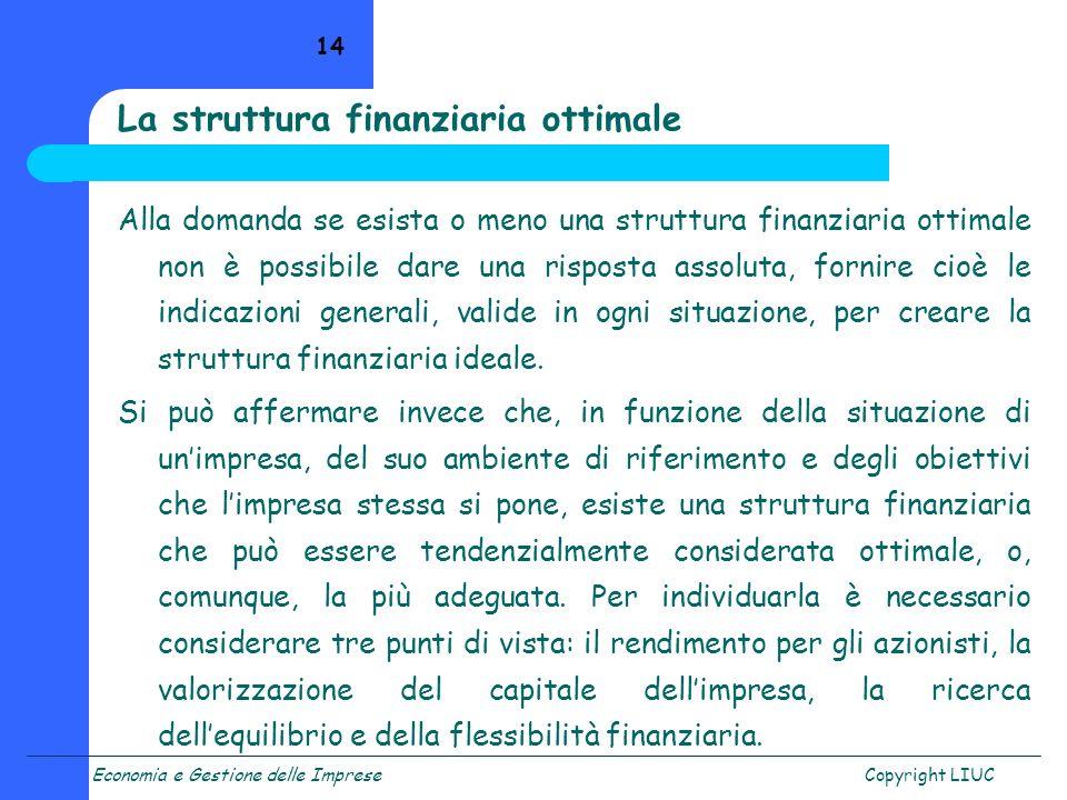 Economia e Gestione delle ImpreseCopyright LIUC 14 La struttura finanziaria ottimale Alla domanda se esista o meno una struttura finanziaria ottimale