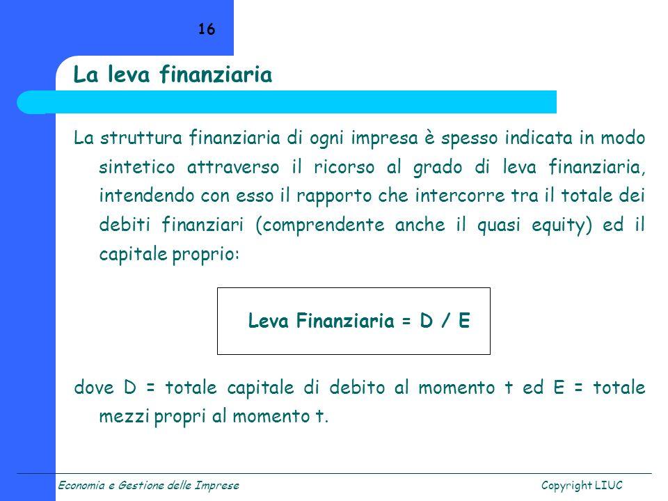 Economia e Gestione delle ImpreseCopyright LIUC 16 La struttura finanziaria di ogni impresa è spesso indicata in modo sintetico attraverso il ricorso