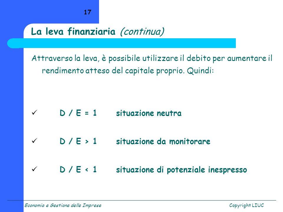 Economia e Gestione delle ImpreseCopyright LIUC 17 La leva finanziaria (continua) Attraverso la leva, è possibile utilizzare il debito per aumentare i