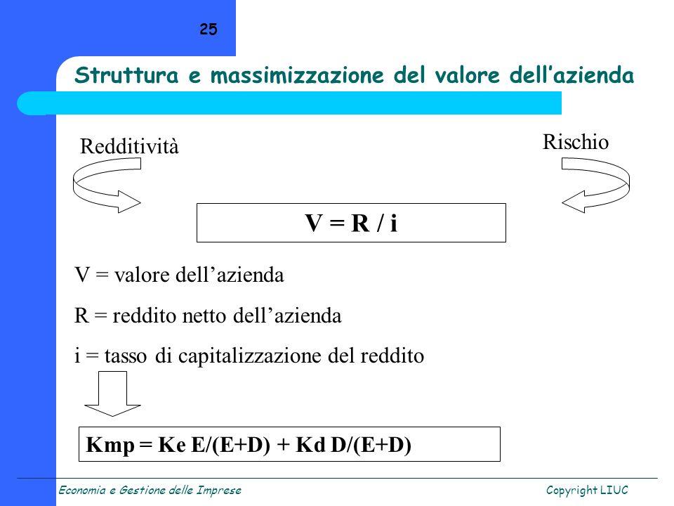 Economia e Gestione delle ImpreseCopyright LIUC 25 Redditività Rischio V = R / i V = valore dellazienda R = reddito netto dellazienda i = tasso di cap