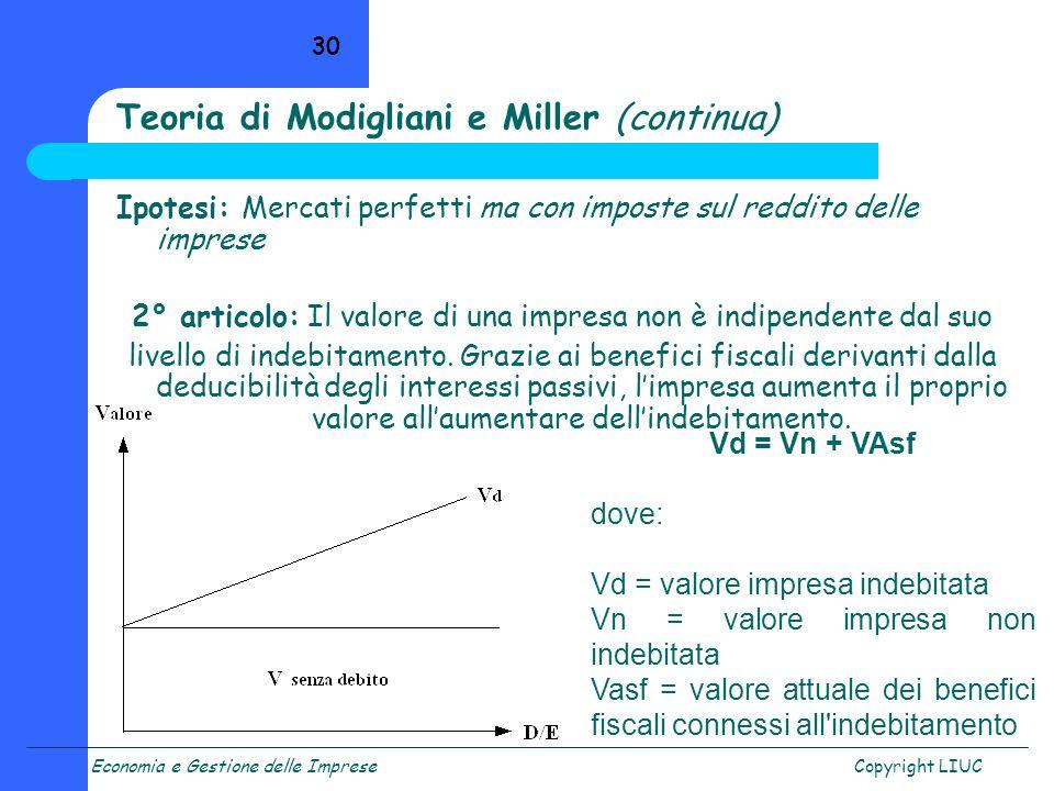 Economia e Gestione delle ImpreseCopyright LIUC 30 Teoria di Modigliani e Miller (continua) Ipotesi: Mercati perfetti ma con imposte sul reddito delle