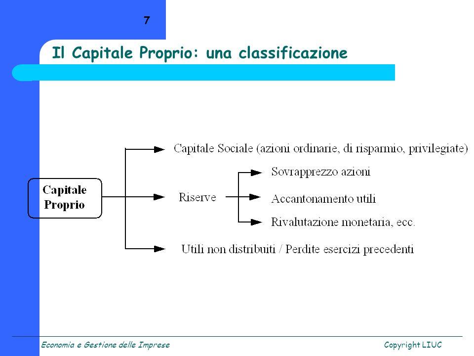 Economia e Gestione delle ImpreseCopyright LIUC 18 La formula che mette in collegamento rendimento per gli azionisti e struttura finanziaria è la seguente: ROE = [ROI + (D/E) (ROI – i)] dove: ROE = risultato netto / patrimonio netto ROI = risultato operativo / capitale investito totale D/E = leva finanziaria i = costo del capitale di debito La formula della leva finanziaria