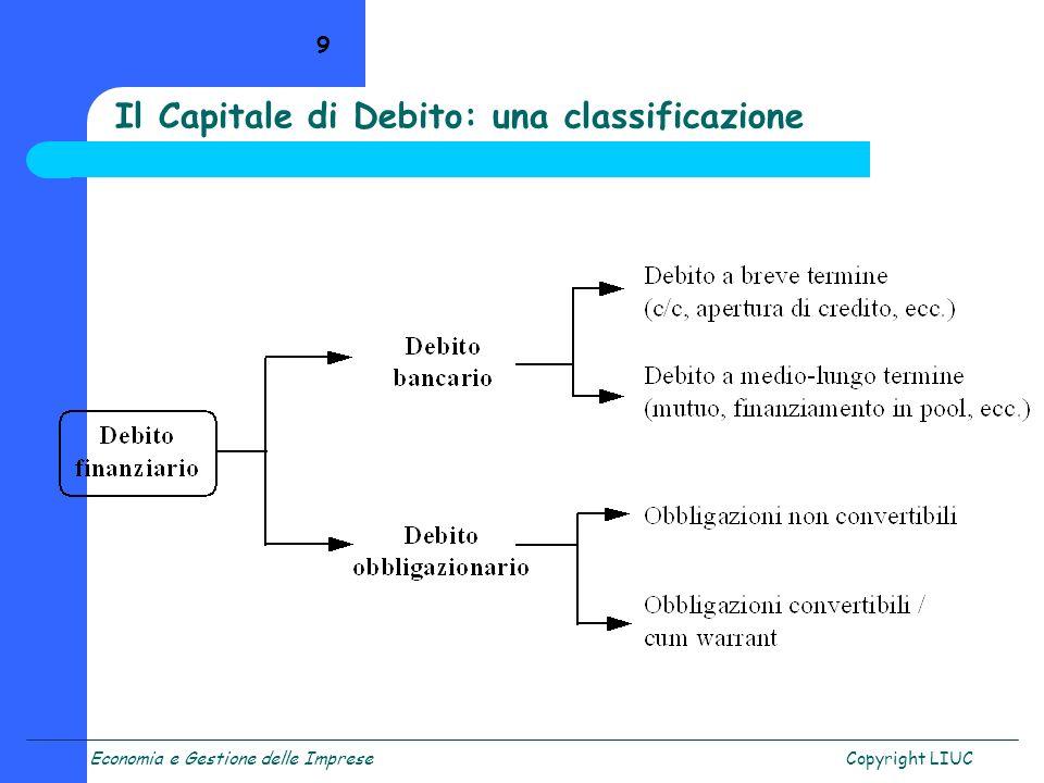 Economia e Gestione delle ImpreseCopyright LIUC 9 Il Capitale di Debito: una classificazione