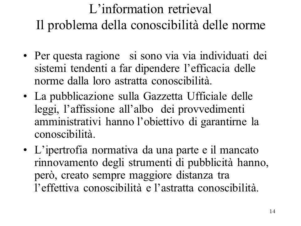 14 Linformation retrieval Il problema della conoscibilità delle norme Per questa ragione si sono via via individuati dei sistemi tendenti a far dipend