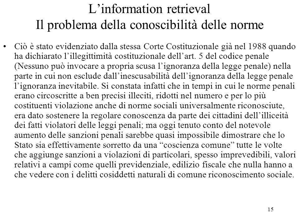 15 Linformation retrieval Il problema della conoscibilità delle norme Ciò è stato evidenziato dalla stessa Corte Costituzionale già nel 1988 quando ha