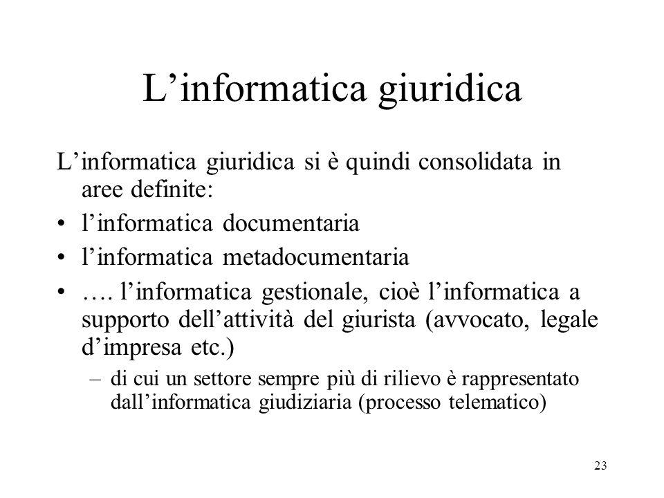 23 Linformatica giuridica Linformatica giuridica si è quindi consolidata in aree definite: linformatica documentaria linformatica metadocumentaria ….