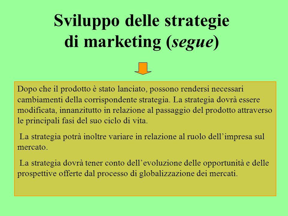 Sviluppo delle strategie di marketing (segue) Dopo che il prodotto è stato lanciato, possono rendersi necessari cambiamenti della corrispondente strategia.
