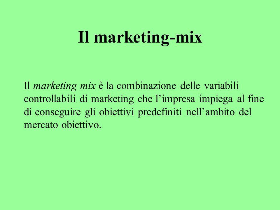 Il marketing-mix Il marketing mix è la combinazione delle variabili controllabili di marketing che limpresa impiega al fine di conseguire gli obiettivi predefiniti nellambito del mercato obiettivo.
