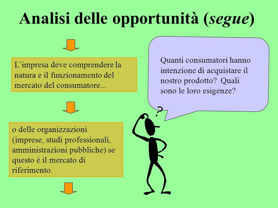 Analisi delle opportunità (segue) Limpresa deve comprendere la natura e il funzionamento del mercato del consumatore...