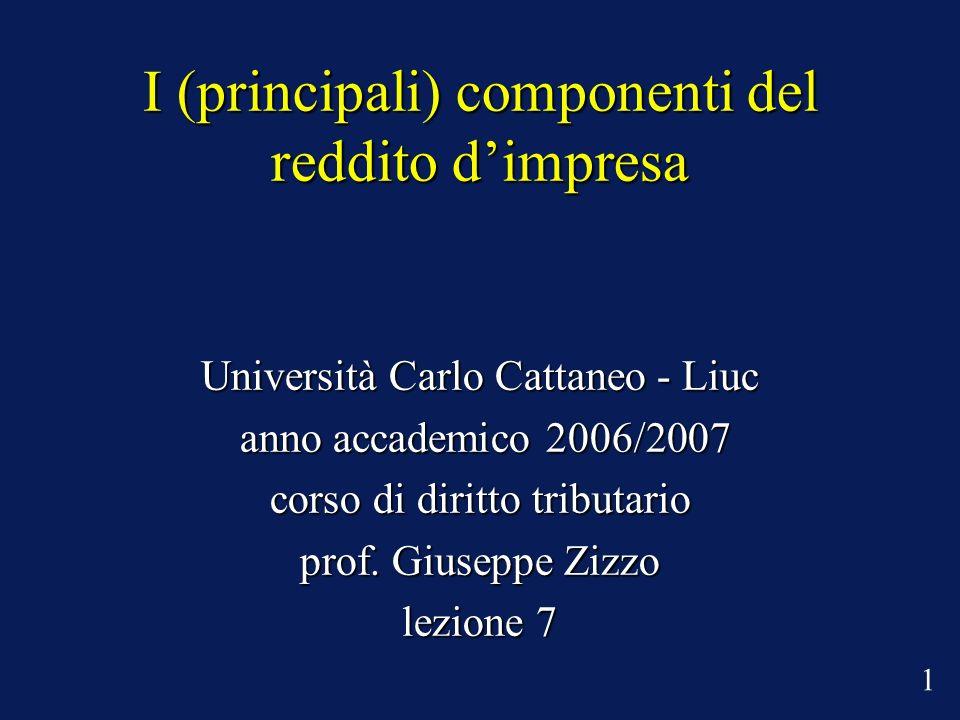I (principali) componenti del reddito dimpresa Università Carlo Cattaneo - Liuc anno accademico 2006/2007 anno accademico 2006/2007 corso di diritto tributario prof.