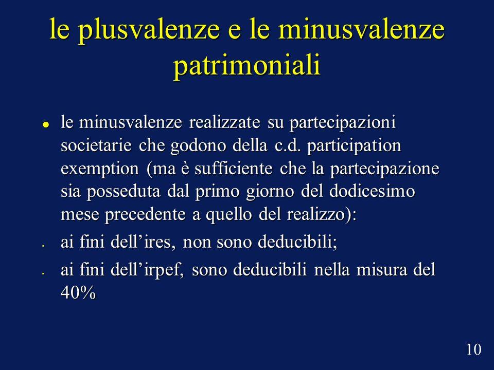 le plusvalenze e le minusvalenze patrimoniali le minusvalenze realizzate su partecipazioni societarie che godono della c.d.