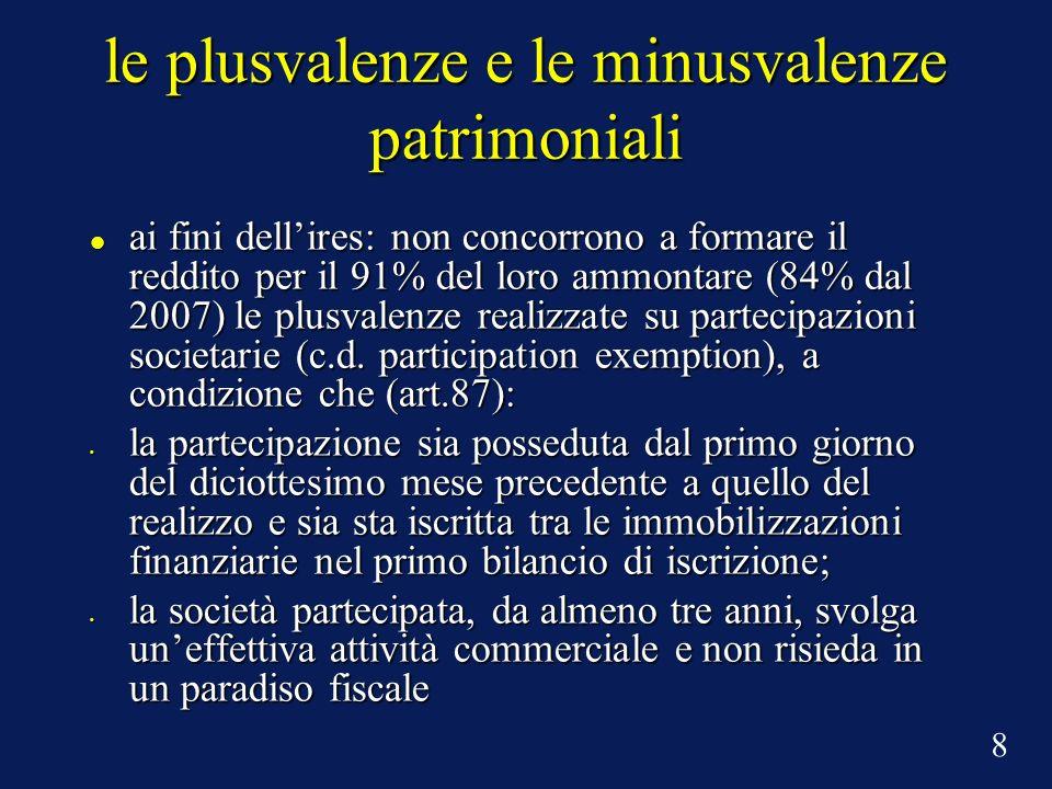 le plusvalenze e le minusvalenze patrimoniali ai fini dellires: non concorrono a formare il reddito per il 91% del loro ammontare (84% dal 2007) le plusvalenze realizzate su partecipazioni societarie (c.d.
