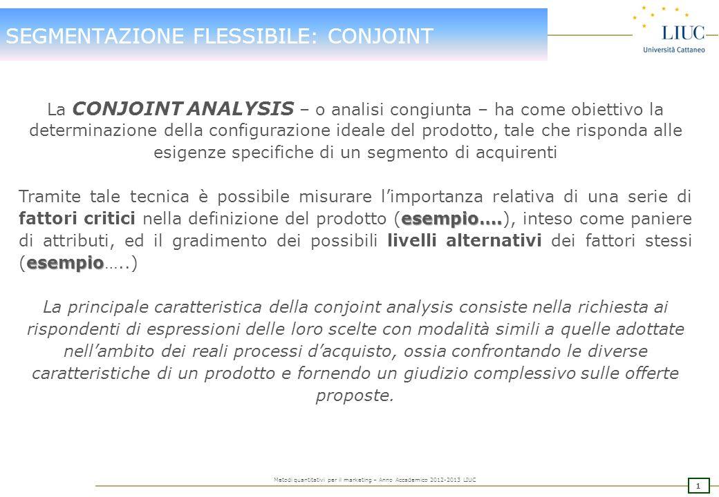 0 Metodi quantitativi per il marketing – Anno Accademico 2012-2013 LIUC INDICE DELLINCONTRO La Conjoint Analysis Obiettivi Caratteristiche Terminologi