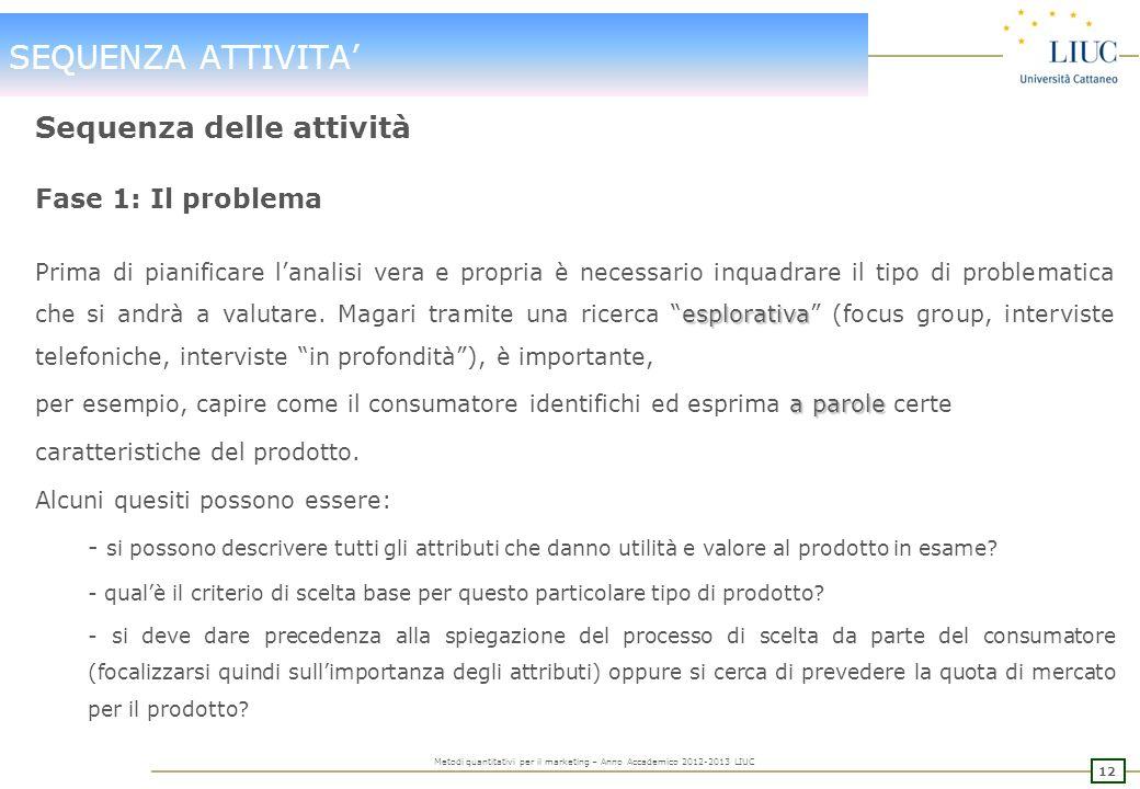 11 Metodi quantitativi per il marketing – Anno Accademico 2012-2013 LIUC SEQUENZA ATTIVITA Sequenza delle attività PROBLEMA DA ANALIZZARE DEFINIZIONE