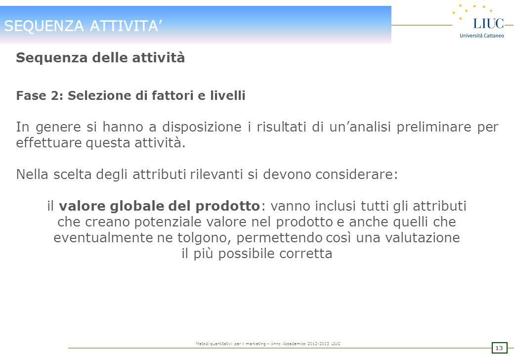 12 Metodi quantitativi per il marketing – Anno Accademico 2012-2013 LIUC SEQUENZA ATTIVITA Sequenza delle attività Fase 1: Il problema esplorativa Pri
