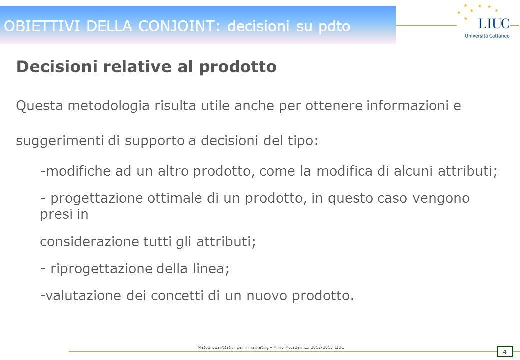3 Metodi quantitativi per il marketing – Anno Accademico 2012-2013 LIUC OBIETTIVI DELLA CONJOINT: Segmentazione Segmentazione del Mercato Esistono for