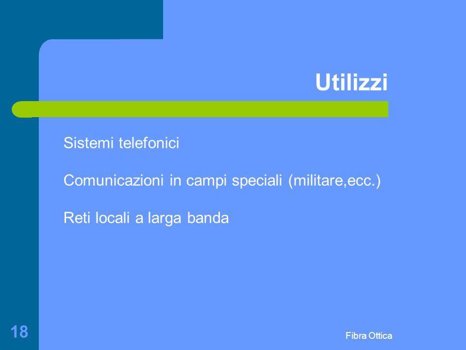 Fibra Ottica 18 Utilizzi Sistemi telefonici Comunicazioni in campi speciali (militare,ecc.) Reti locali a larga banda