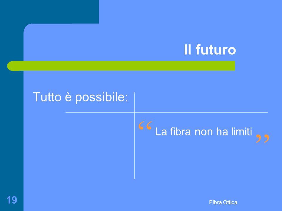 Fibra Ottica 19 Il futuro Tutto è possibile: La fibra non ha limiti