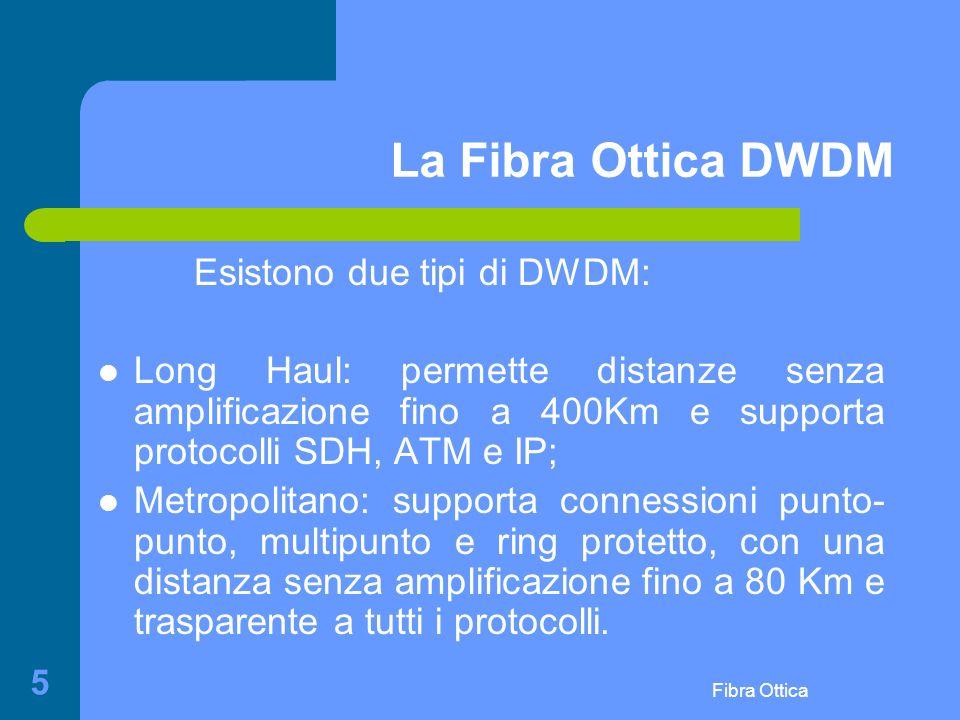 Fibra Ottica 5 La Fibra Ottica DWDM Esistono due tipi di DWDM: Long Haul: permette distanze senza amplificazione fino a 400Km e supporta protocolli SDH, ATM e IP; Metropolitano: supporta connessioni punto- punto, multipunto e ring protetto, con una distanza senza amplificazione fino a 80 Km e trasparente a tutti i protocolli.