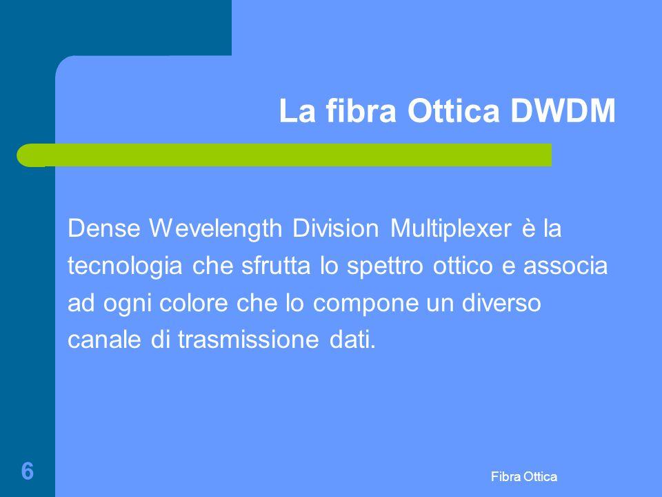 Fibra Ottica 6 La fibra Ottica DWDM Dense Wevelength Division Multiplexer è la tecnologia che sfrutta lo spettro ottico e associa ad ogni colore che lo compone un diverso canale di trasmissione dati.