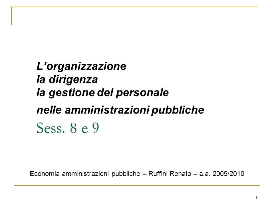 1 Lorganizzazione la dirigenza la gestione del personale nelle amministrazioni pubbliche Sess. 8 e 9 Economia amministrazioni pubbliche – Ruffini Rena