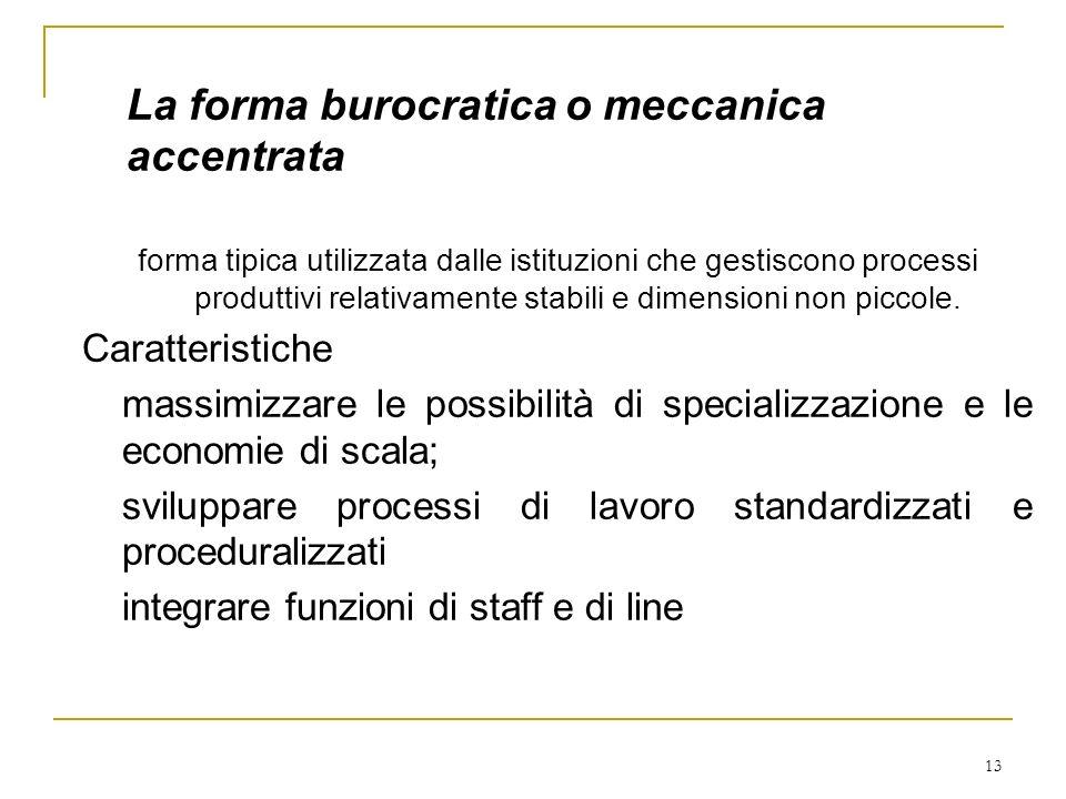 13 La forma burocratica o meccanica accentrata forma tipica utilizzata dalle istituzioni che gestiscono processi produttivi relativamente stabili e di
