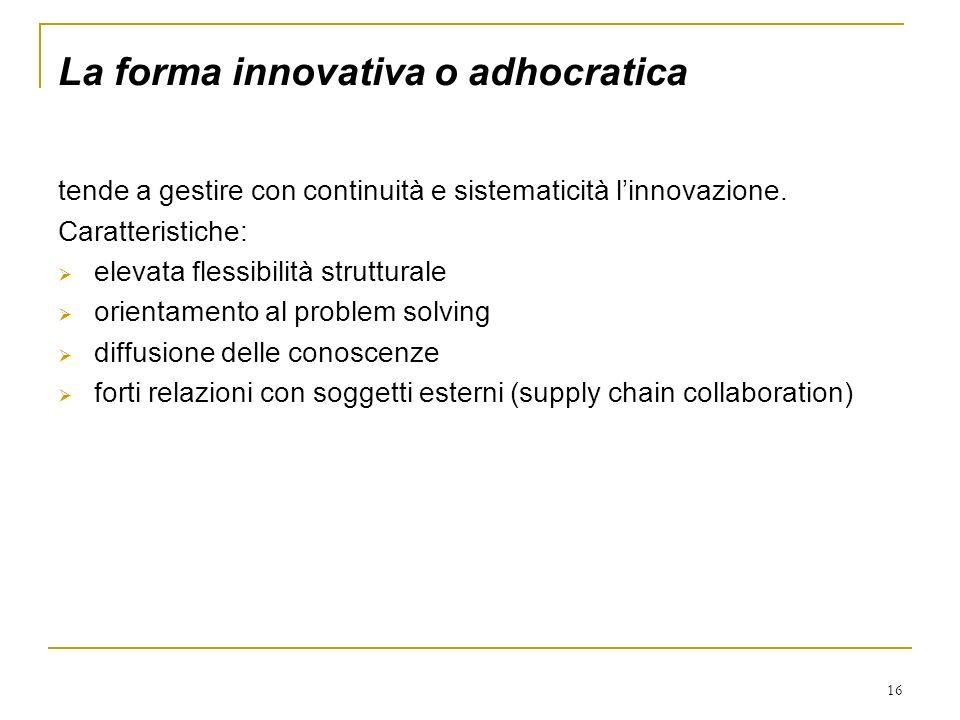 16 La forma innovativa o adhocratica tende a gestire con continuità e sistematicità linnovazione. Caratteristiche: elevata flessibilità strutturale or