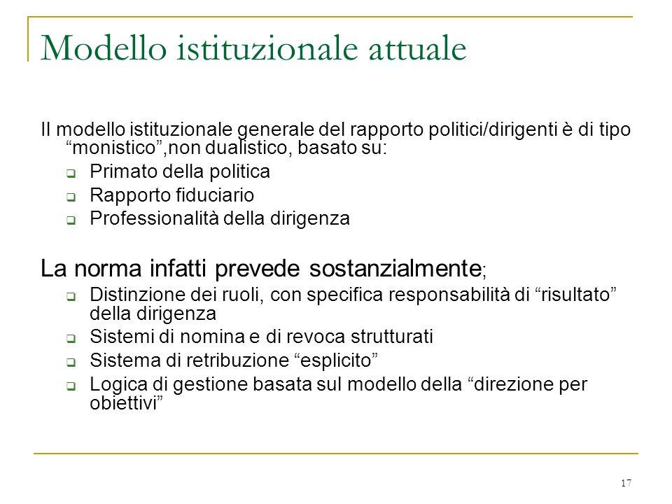 17 Modello istituzionale attuale Il modello istituzionale generale del rapporto politici/dirigenti è di tipo monistico,non dualistico, basato su: Prim