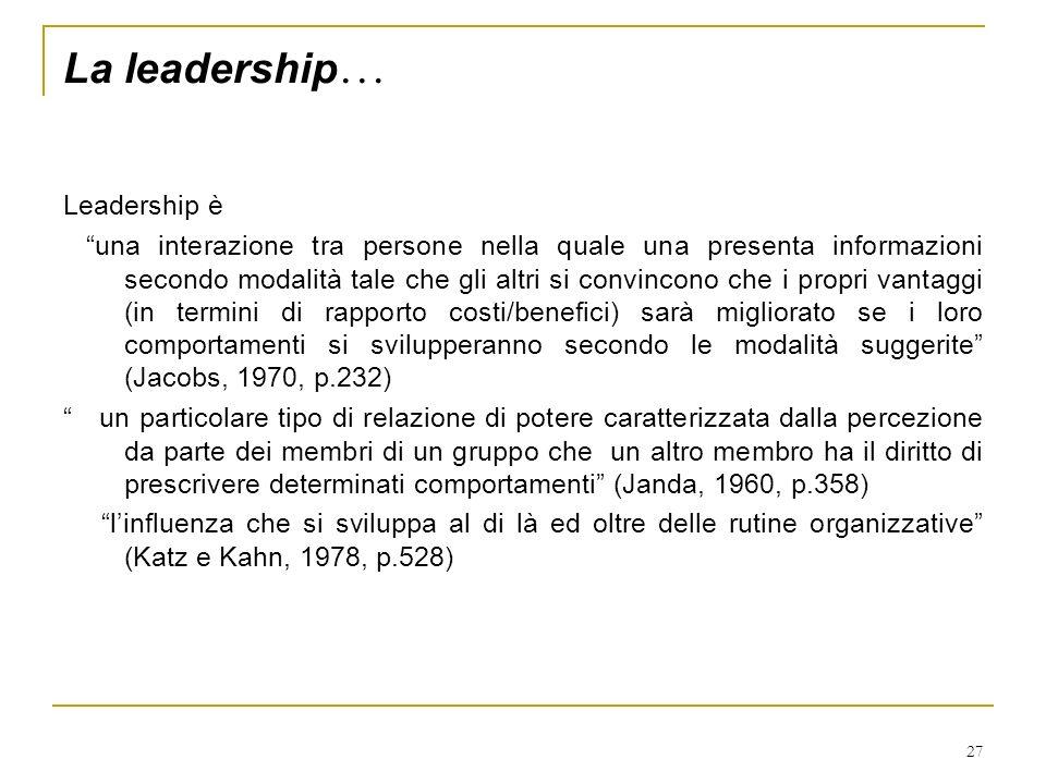 27 La leadership … Leadership è una interazione tra persone nella quale una presenta informazioni secondo modalità tale che gli altri si convincono ch