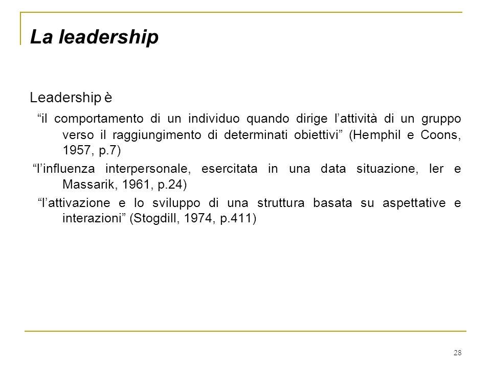 28 La leadership Leadership è il comportamento di un individuo quando dirige lattività di un gruppo verso il raggiungimento di determinati obiettivi (