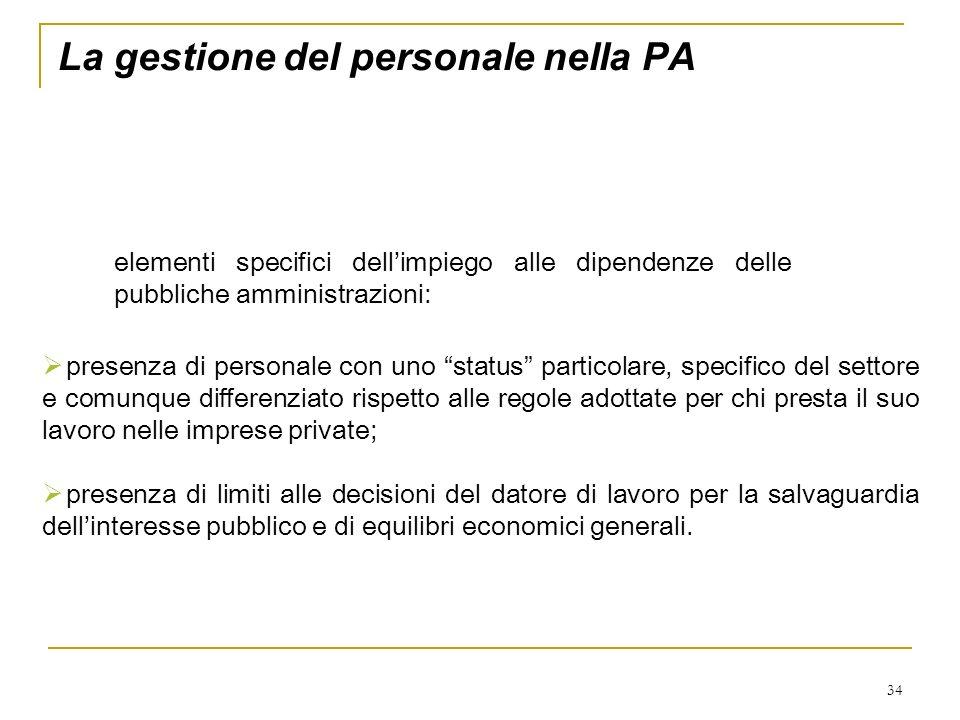 34 La gestione del personale nella PA elementi specifici dellimpiego alle dipendenze delle pubbliche amministrazioni: presenza di personale con uno st